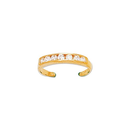 14k Solid Yellow Gold 3mm Design Cz Toe Ring New 1.06 Gr.