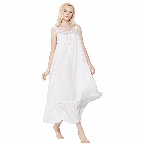 Jinyufeng Donne Lungo Camicia da Notte Collo Square è Pizzo Macramè alla Base Senza Maniche Bianco DK6212 (L/XL)