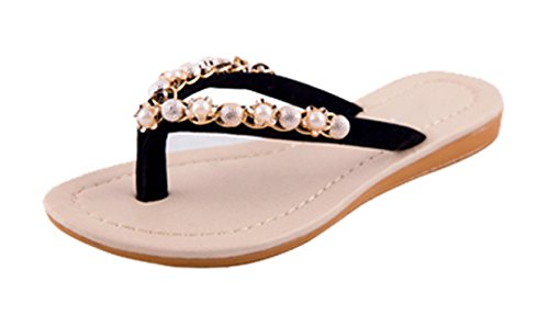 AM CLOTHES Women's Bohemian Sweet Pearl Beaded Flat Thong Flip-flop