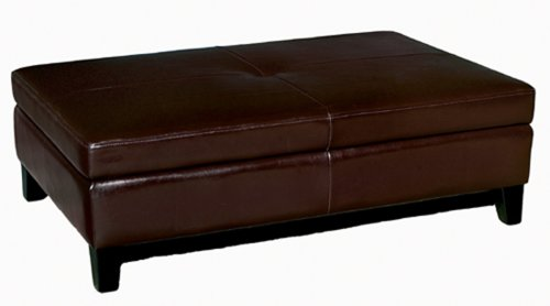 Full Leather Cocktail Storage Ottoman, Dark Brown