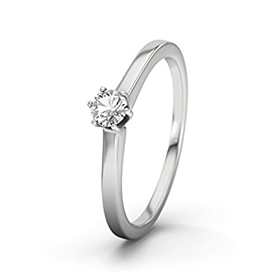21DIAMONDS Women's Ring with White Topaz Brilliant Cut Engagement Ring - Silver Engagement Ring