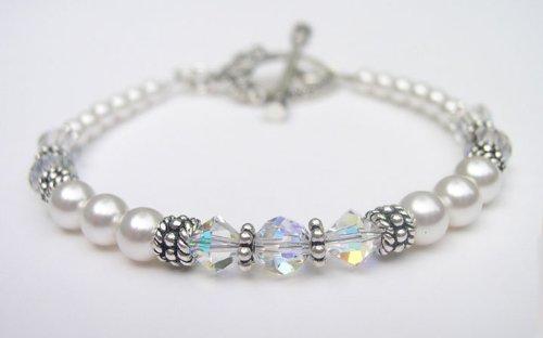 Pearl Bracelets: White Pearl Swarovski Crystal Sterling Silver Marcasite Beaded Bracelets/White Pearl Bracelets