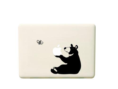 macbook用ステッカー リンゴとくま/ブラック iPad用近日発売! 送料無料!