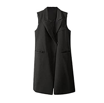 Amazon.com: Women Thin Waistcoat Coat Notched Collar Gilet