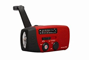 American Red Cross FR150 Microlink Solar-Powered, Self-Powered AM/FM/Weatherband Portable Radio with Flashlight and Cell Phone Charger (Red)