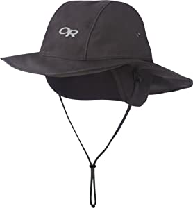 Outdoor Research Snoqualmie Sombrero Rain Hat, Black, Small