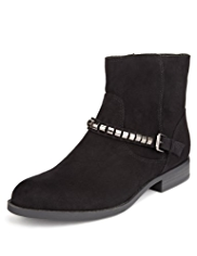 M&S Collection Mock Suede Metal Trim Biker Boots with Insolia®
