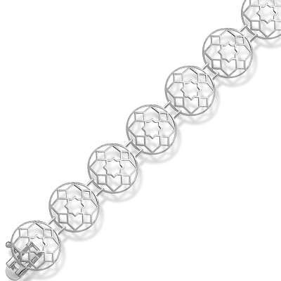 Dazzling Sterling 925 Silver Link Bracelet Featuring Open Star Design in Circle Links(WoW !With Purchase Over $50 Receive A Marcrame Bracelet Free)