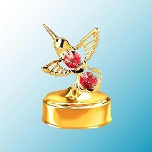 24K Gold Hummingbird Mini Music Box - Red Swarovski Crystal