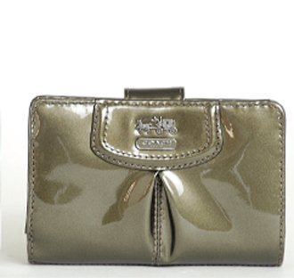 Coach   Coach Madison Patent Leather Medium French Zip Wallet 46617 Pewter