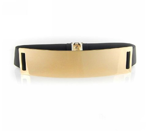 SDBING Fashion Lady Metal Metallic Bling Gold Mirror Shiny Skinny Wide Obi Belt Corset (Black)