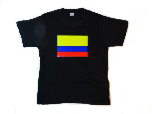 Colombia Flag Led Flashing Sound Activated Light Up Shirt (Double Extra Large - Xxl)