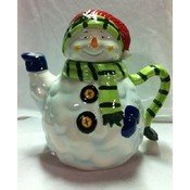 "Season Snowman Teapot [6 Pieces] *** Product Description: Hand Painted. Dishwasher And Microwave Safe. Ceramic. 9"" X 6"" X 8"". Holds 28 Oz. ***"