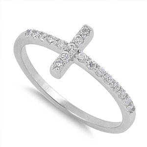 Hot Seller Sideways Cz Cross.925 Sterling Silver Ring Size 7