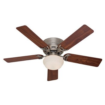 Hunter 20801 Low Profile lll Plus 52-Inch Ceiling Fan with 5-Cherry/Walnut Blades, Antique Pewter