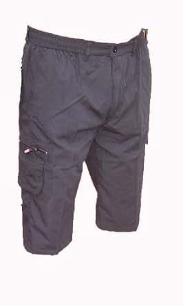 MENS COTTON CARGO MULTI POCKET 3/4 SHORTS SMART M L XL XXL 3XL NEW COOL (2XL            40  - 42  waist, BLACK)