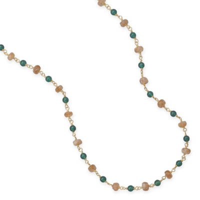 Green Agate and Jasper Necklace 14K Yellow Gold on Sterling Silver