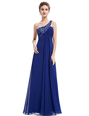 HE09872BL06, Blue, 4US, Ever Pretty Elegant One Shoulder Open Back Formal Evening Dress 09872