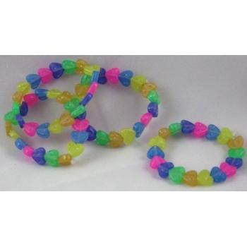 Plastic Beaded Rainbow Heart Bracelets Case Pack 48 - 432381