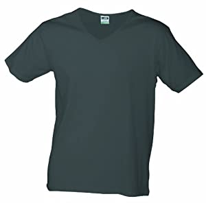 James & Nicholson Homme T-Shirt Coupe ajustée Col V Gris graphite s