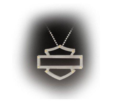Harley-Davidson® Women's Stamper Pendant Necklace. 3-D Titanium. Silhouette Bar & Shield. TN1