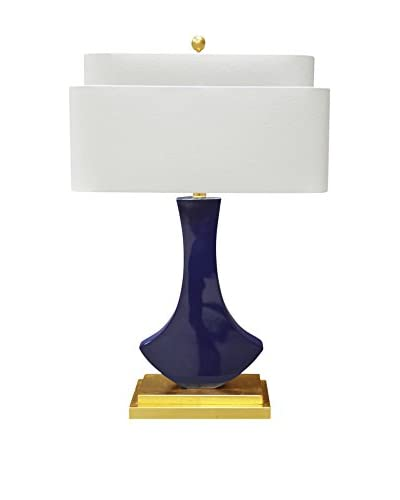 Couture Bellaria Table Lamp, High Gloss Indigo/Lacquered Gold Leaf