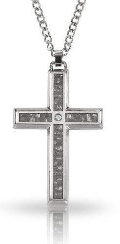STEL Stainless Steel Carbon Fiber Diamond Cross Pendant. 24