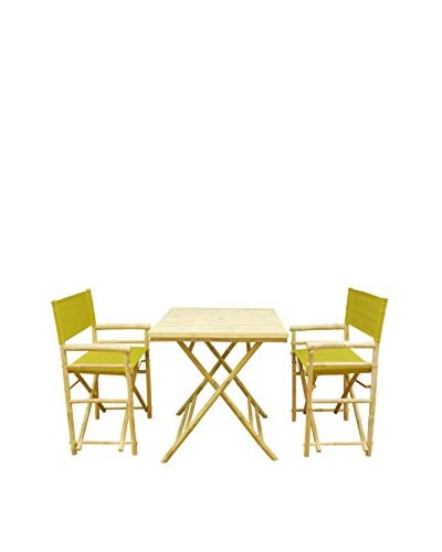 ZEW, Inc. Square Table & Director Chair Set, Olive Green