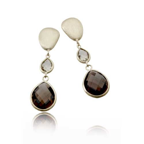 Dark Smokey And Light Smokey Gem Stones Matte Vermeil Finish (.925) Sterling Silver Earrings (Nice Holiday Gift, Special Black Firday Sale)