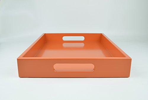 Orange Serving Tray 18 in. by 14 in. Handmade Lacquer Decorative Tray