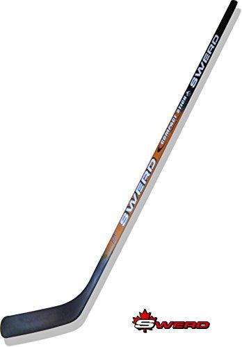 Swerd Eishockeyschläger, Hockeyschläger aus finnischer Birke junior/senior (schwarz/orange Rechtsschuß, 125 Zentimeter)