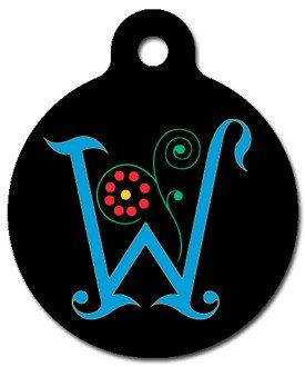 Monogram Letter W Pet ID Tag for Dogs and Cats