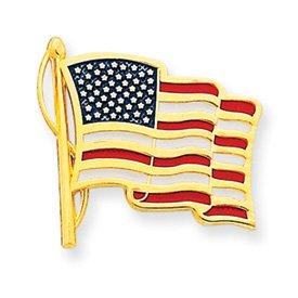 14k Enameled American Flag Tie Tac - JewelryWeb
