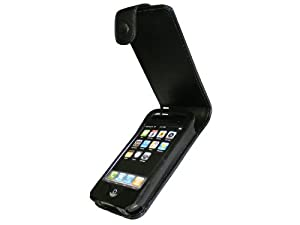 iGadgitz Black Genuine Leather Case Cover Holder for Apple iPhone 3G & 3GS 8gb, 16gb & 32gb + Screen Protector & Detachable Belt Clip