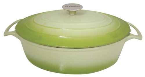 Le Cuistot Vieille France Enameled Cast-Iron 5.5 Quart Oval Dutch Oven - 2 Tone Green