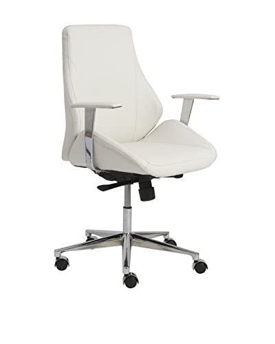 Euro Style Bergen Low Back Office Chair, White