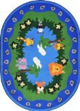 "Joy Carpets Kid Essentials Infants & Toddlers Oval Jungle Peeps Rug, Multicolored, 5'4"" x 7'8"""