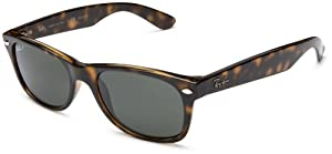 Ray-Ban RB2132 New Wayfarer Polarized Sunglasses,Tortoise/Green Polarized,55 mm