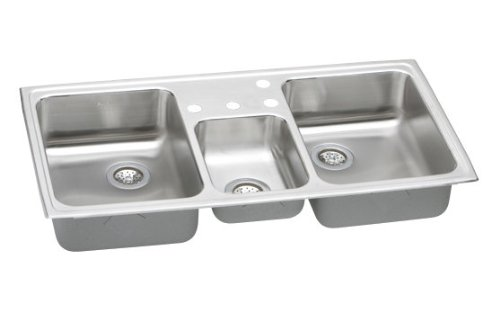 Elkay PSMR43220 Pacemaker Bowl Triple Basin Kitchen Sink