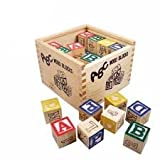 #9: Generic ABC 123 Wooden Blocks Letters Numbers with Box Storage Case, Wooden (27 Pieces)