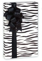 Black & White Zebra Striped Gift Wrap Wrapping Paper 16 Foot Roll