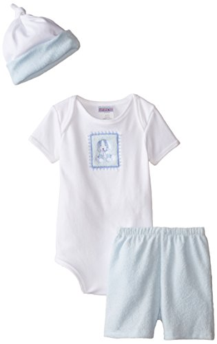 Raindrops Furry Friends Dog Short Sleeve Body Suit Gift Set, Blue, 3-6 Months, 4 Piece