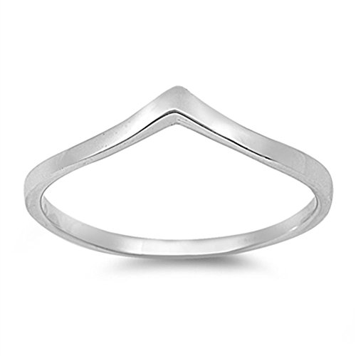 Chevron Pointed Arrow Cute Ring New .925 Sterling Silver Band Size 10 (RNG14781-10) (Thumb Rings compare prices)