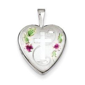 Genuine IceCarats Designer Jewelry Gift Sterling Silver 16Mm D/C & Enameled Cross & Flowers Heart Locket