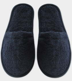 Terry Cotton Slippers - Made in Turkey (S/M (US 6 - 9.5), Black)