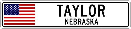 TAYLOR, NEBRASKA - USA Flag Aluminum City Sign - 6 x 24 Inches