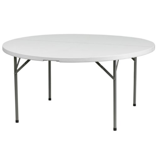 Image of DuraGood Fold In Half 60 Inch 5ft Round Premium Plastic Folding Table Lifetime Warranty White