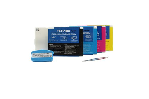 Compatible with Epson B 300 Ink Cartridges Set Black, Cyan, Magenta, Yellow - T6161 - T6164 / C13T616100 (mit Resetter) - Inhalt: 4 x 110 ml