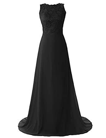 Dressystar Long sexy bridesmaid dress Backless Lace Dress Black Size 6