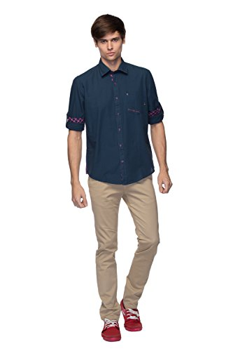Mens Shirt - Mens Casual Wear - Cotton Shirts - Navy Blue Color - By Zorro